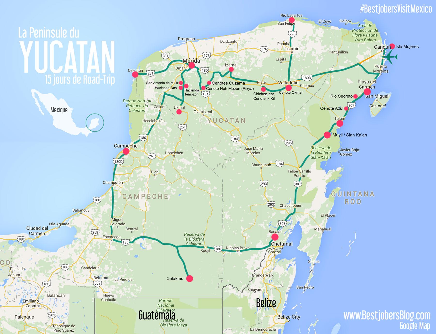 Road-trip Yucatan carte détaillée Bestjobers