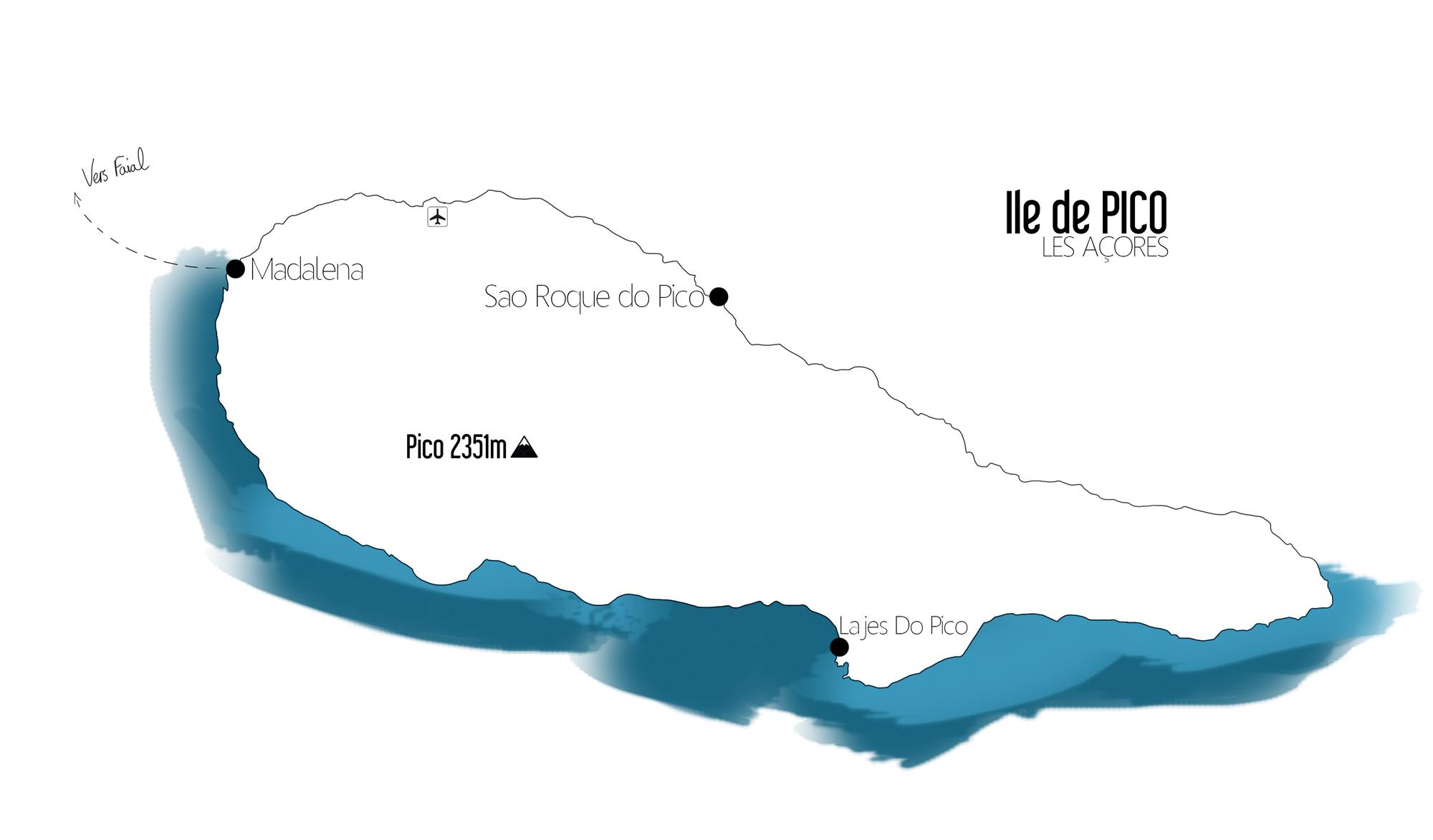 Carte Ile de Pico, Les Açores