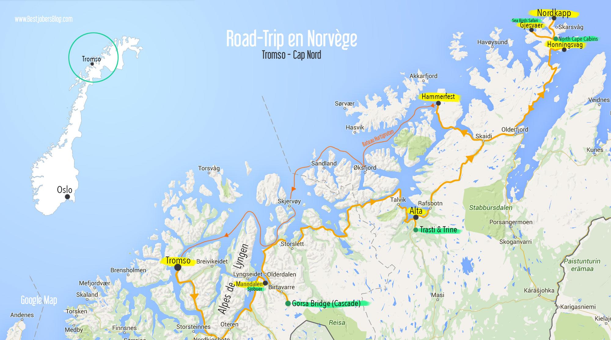 itinéraire road trip norvege carte tromso-cap nord