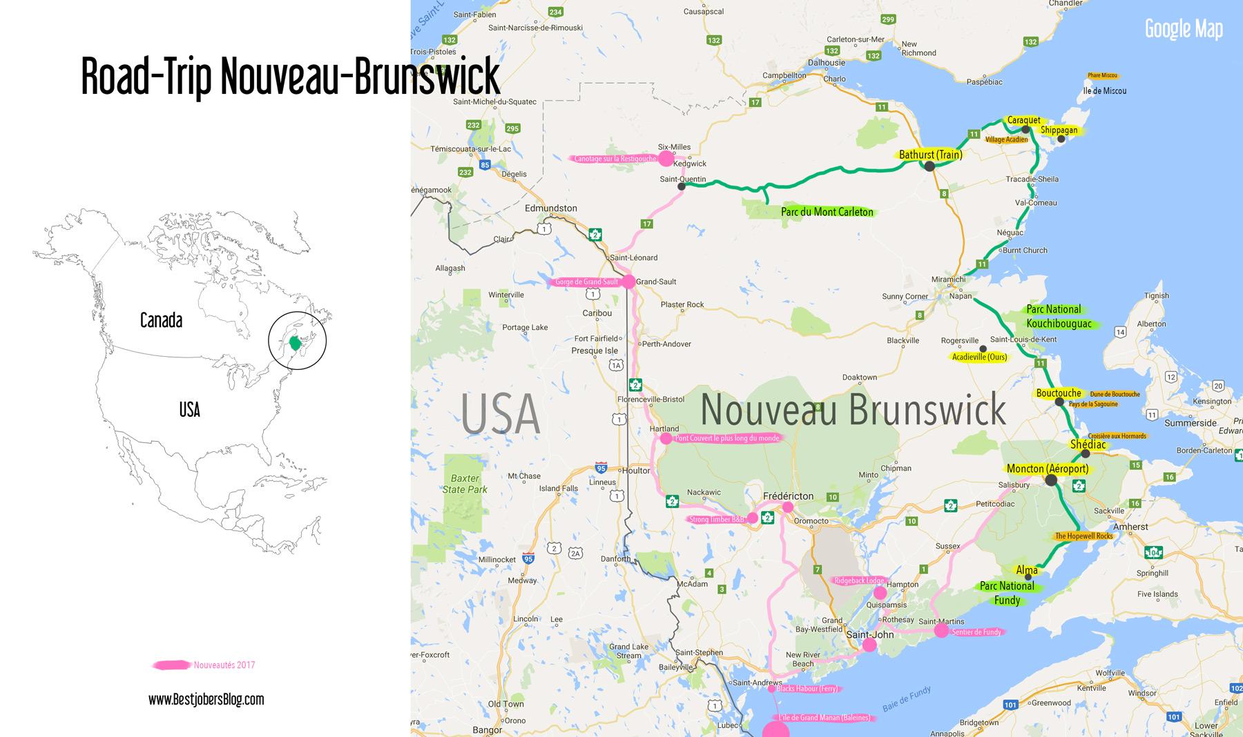 Carte et itinéraire, Road Trip Nouveau-Brunswick, Canada