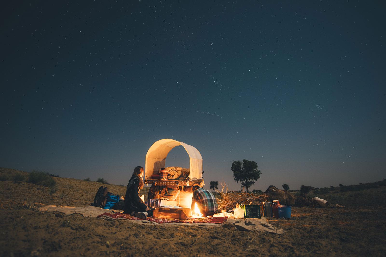 nuit dans le desert du thar inde