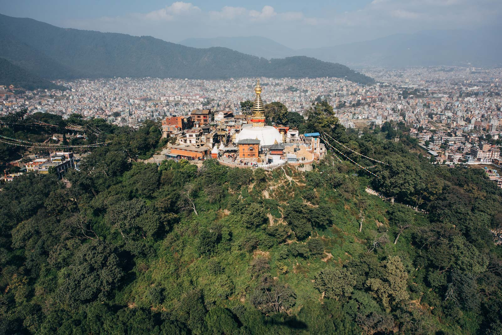 kathmandu stupa depuis les airs