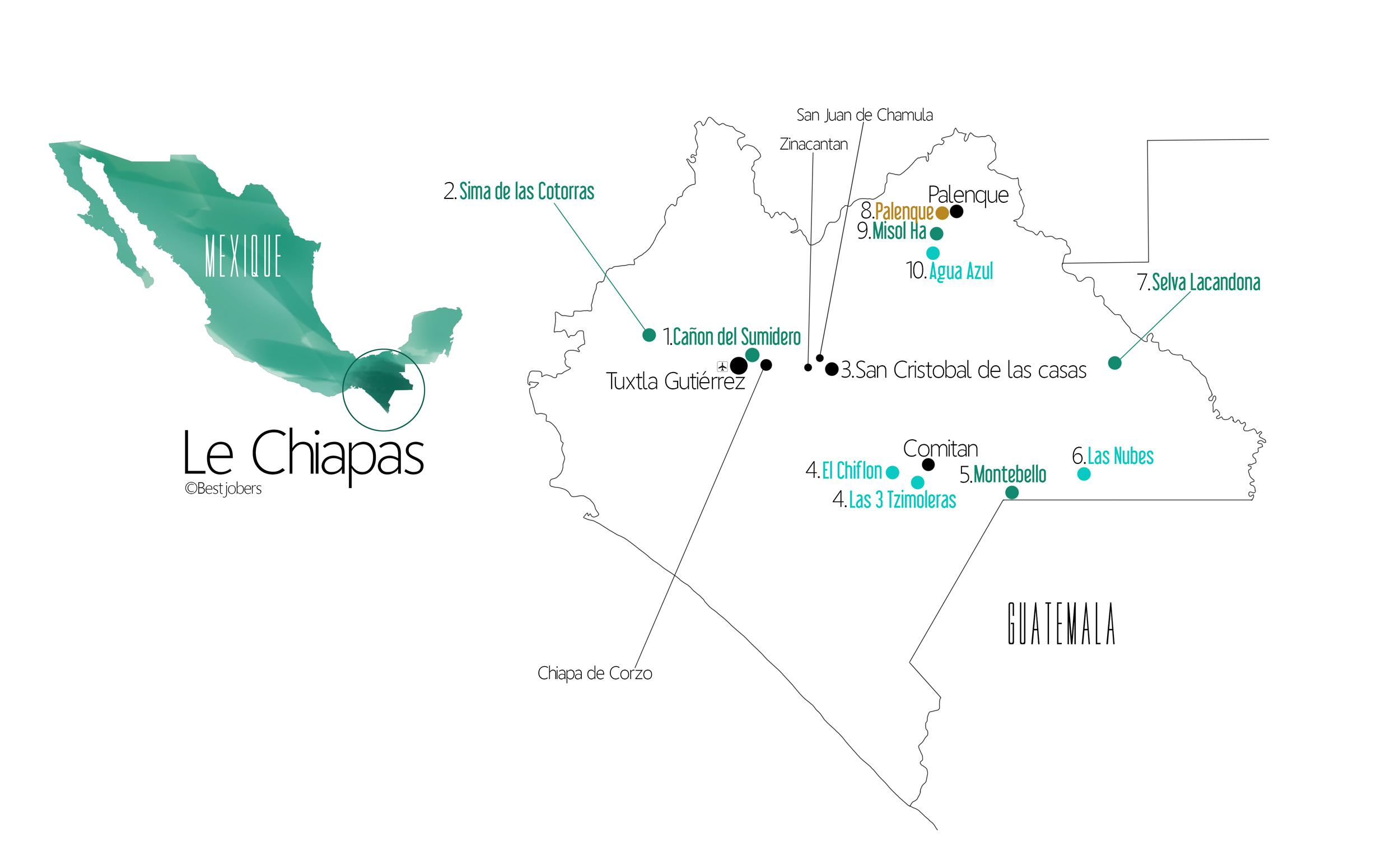 Carte et Itinéraire 8 jours au Chiapas, Mexique