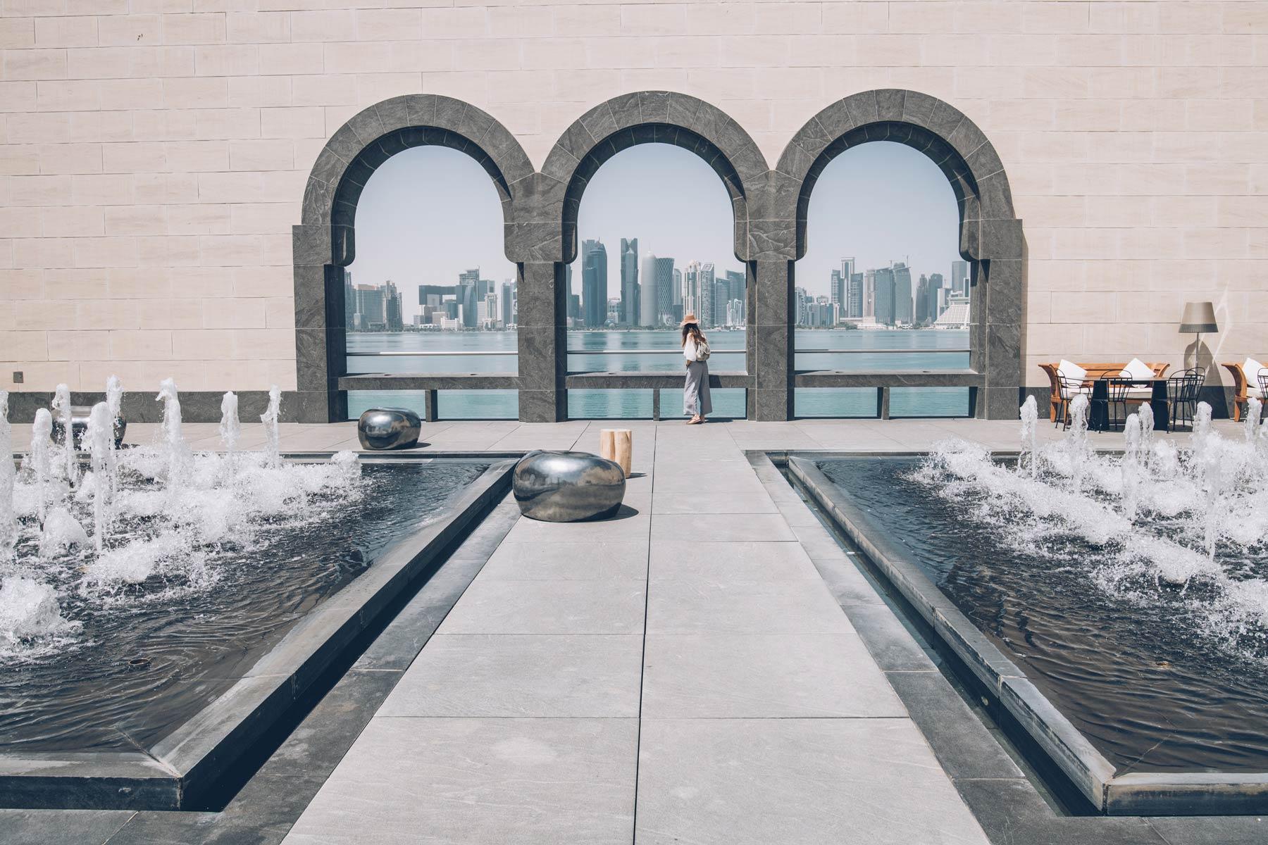 Vue sur la skyline de Doha depuis le musée des arts islamiques