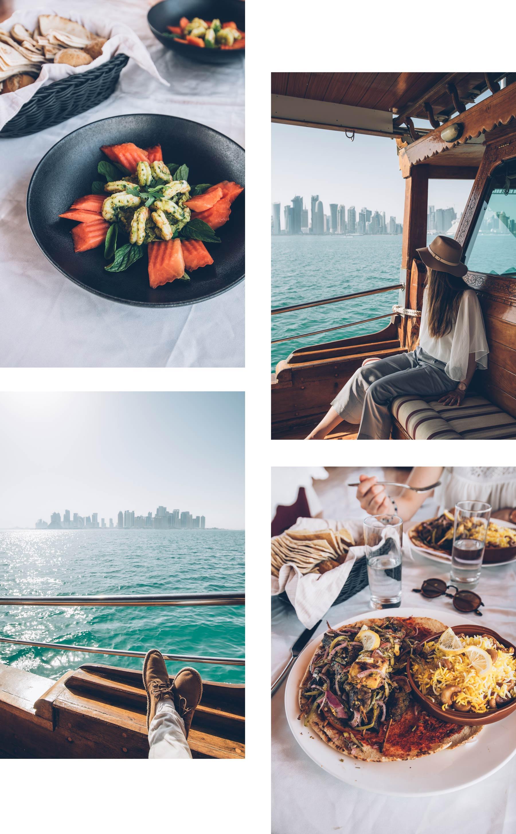 Manger sur un bateau traditionnel au Qatar, Doha