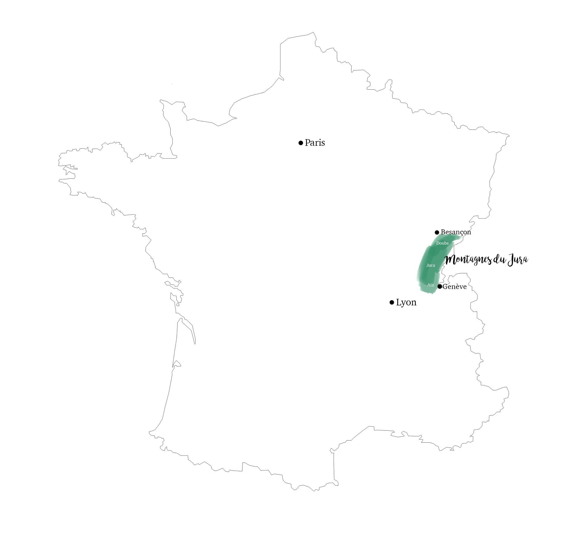 Les montagnes du Jura Carte