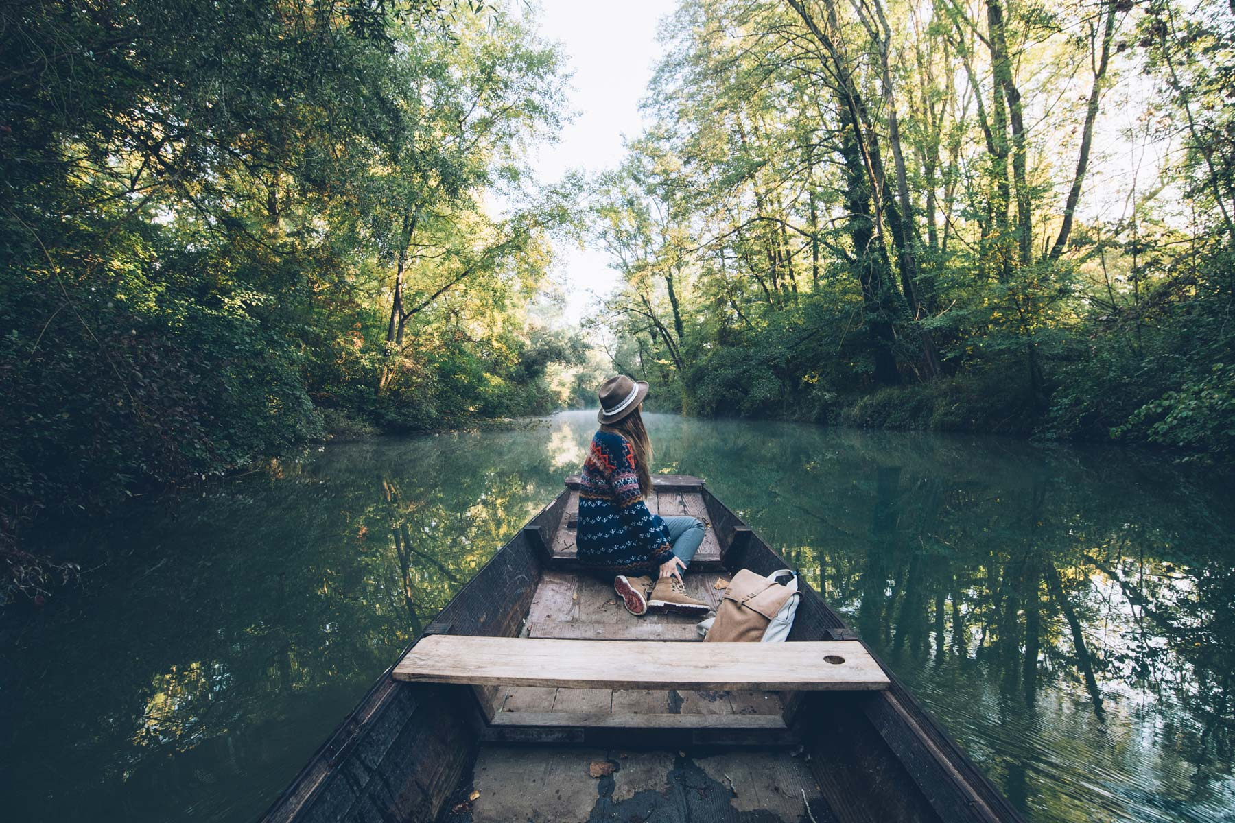 Barque sur l'ile de Rhinau, Alsace
