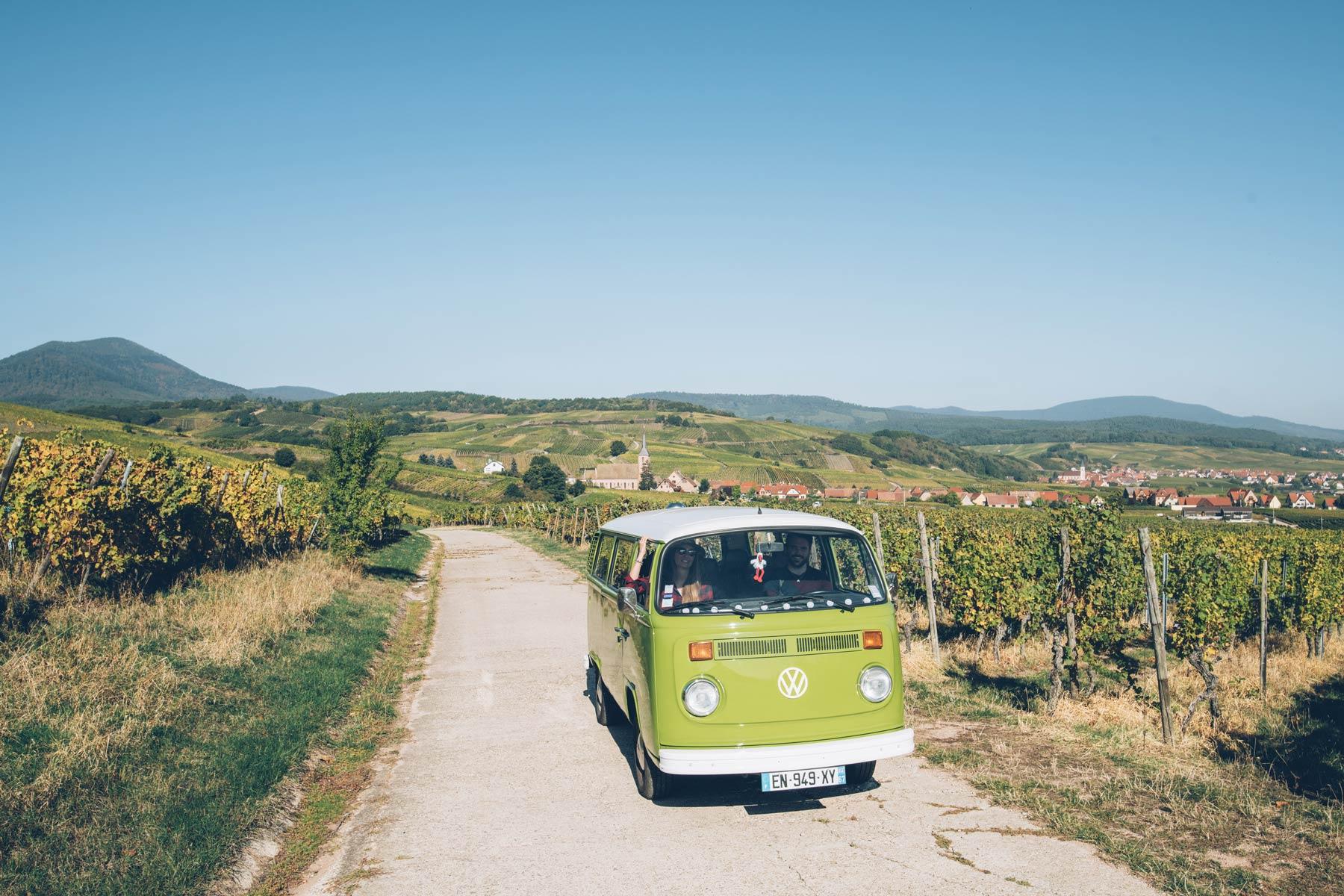 La route des vins en combi T2 VW, Vino Varlot