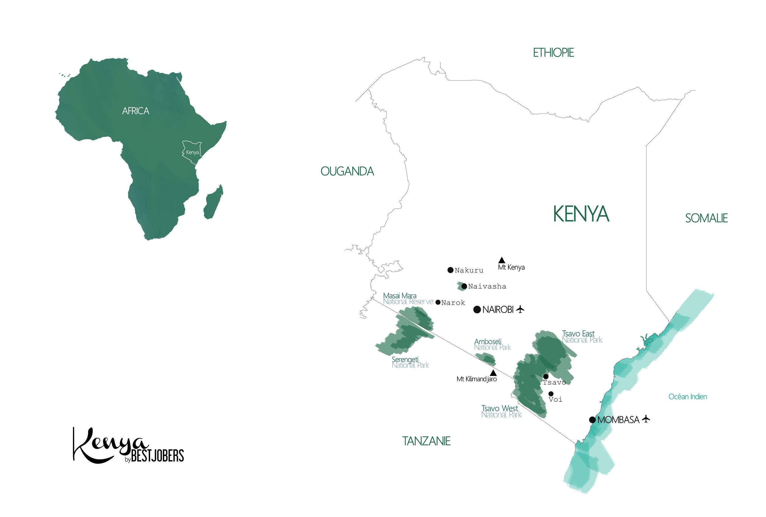 Carte Parks Kenya by Bestjobers