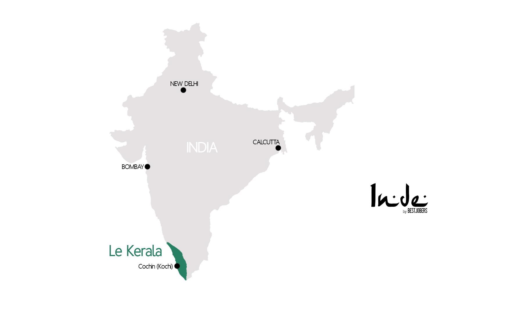 Carte Kerala, Inde by Bestjobers
