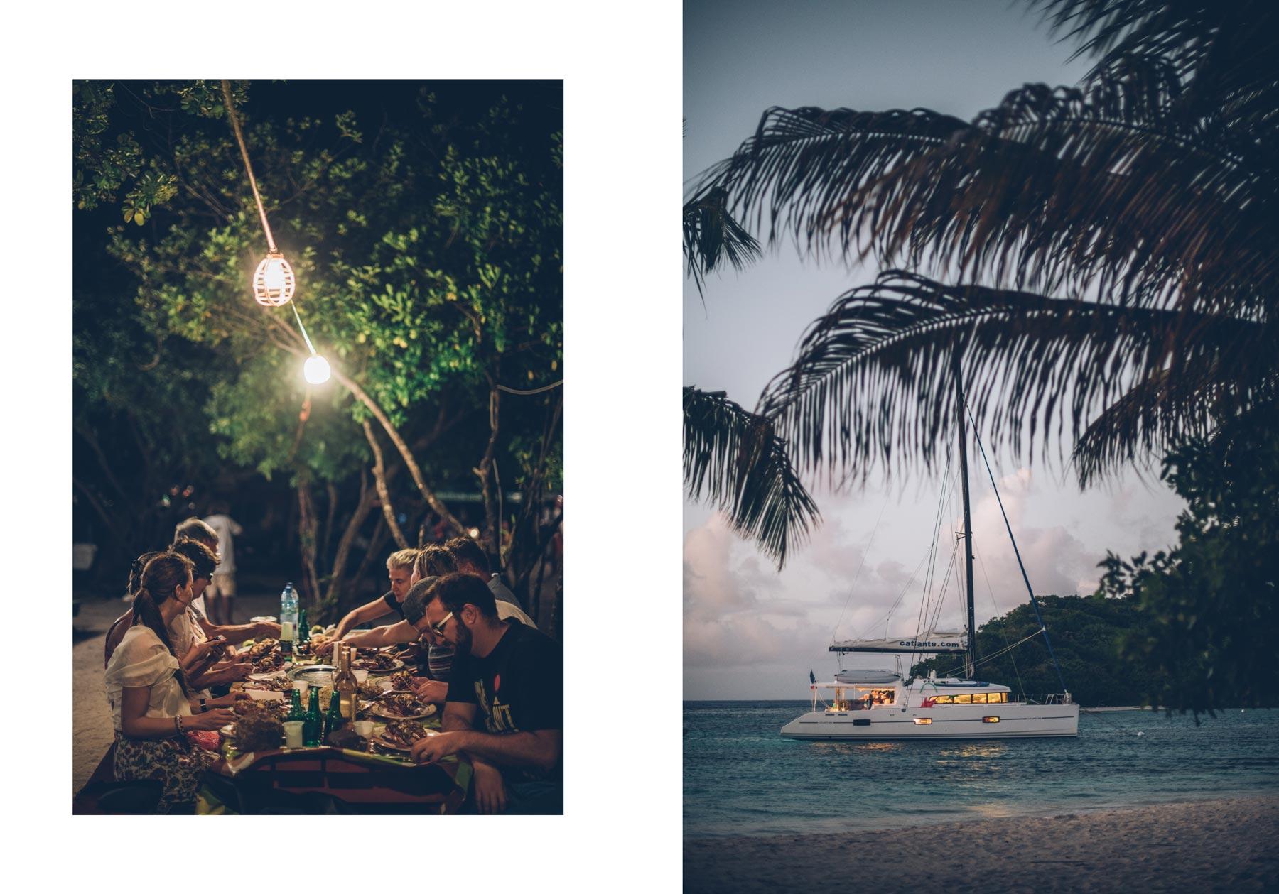 Diner Langouste sur une ile des Tobago Cays