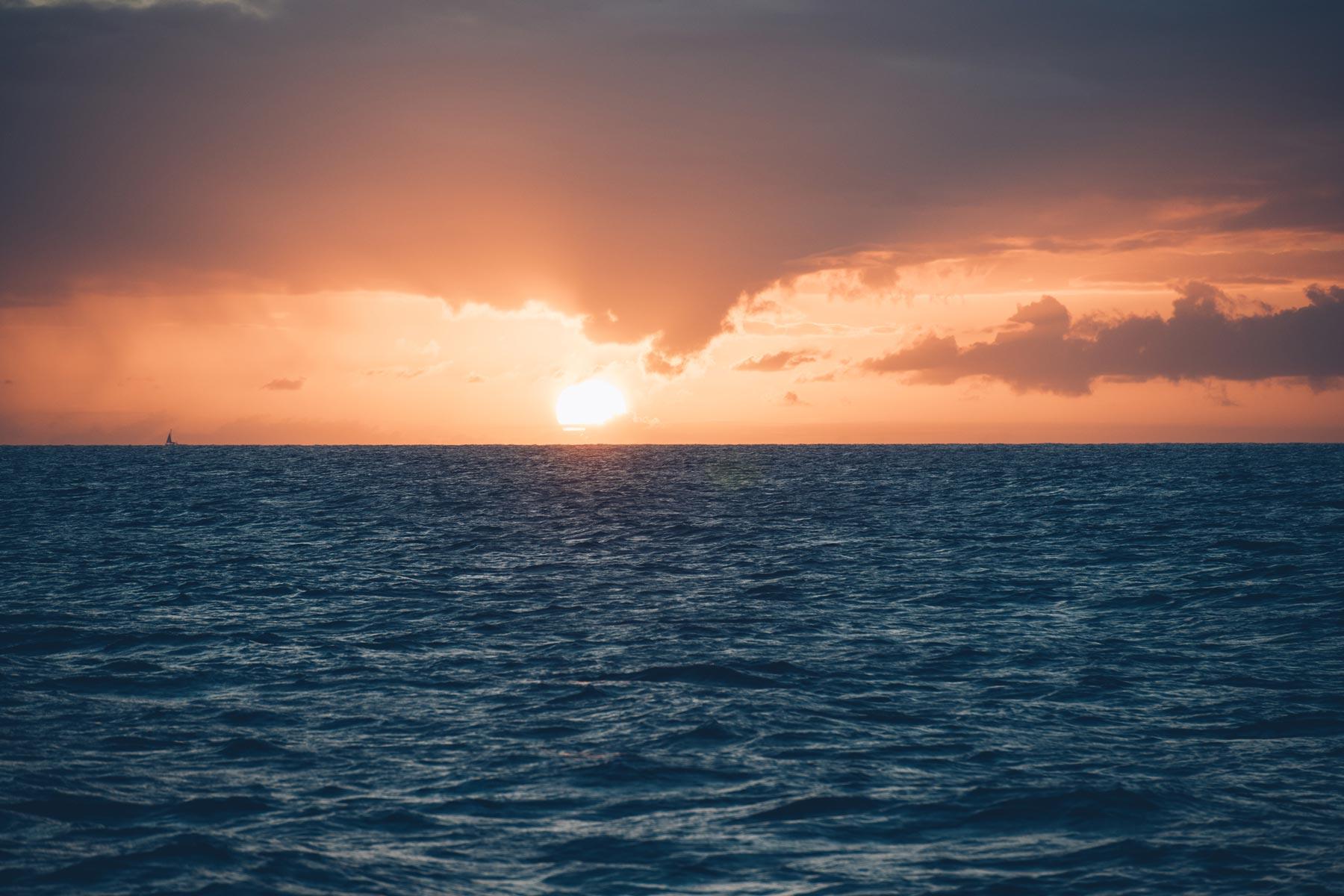 Coucher de soleil en mer, Sainte Lucie