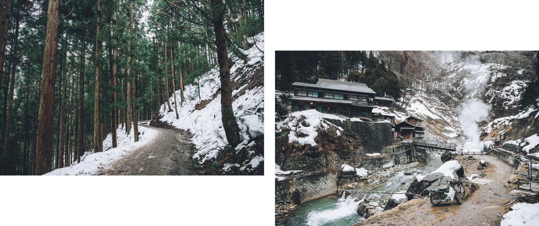 Le chemin pour rejoindre le snow monkey park, Japon