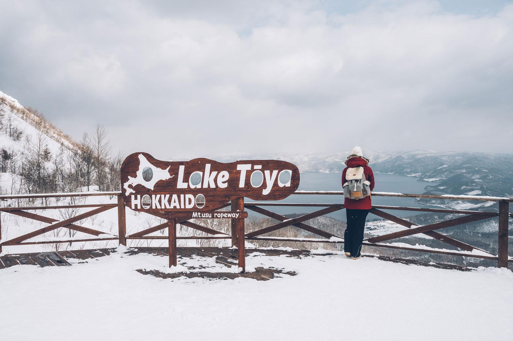 le téléphérique du mont Usu, vue sur le lac Toya