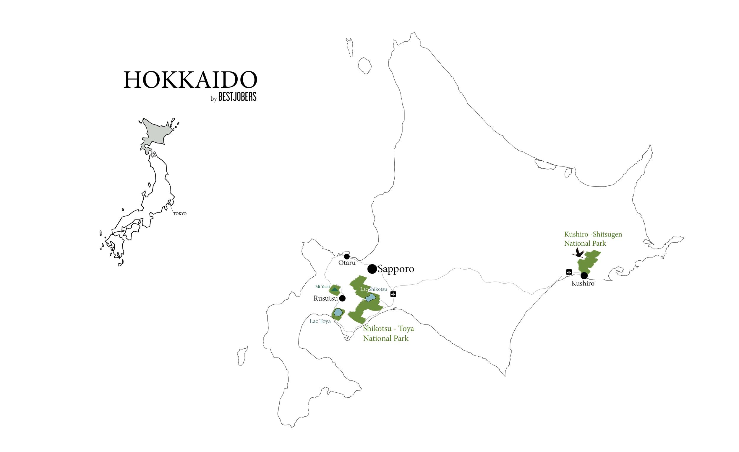 Carte Hokkaido Bestjobers