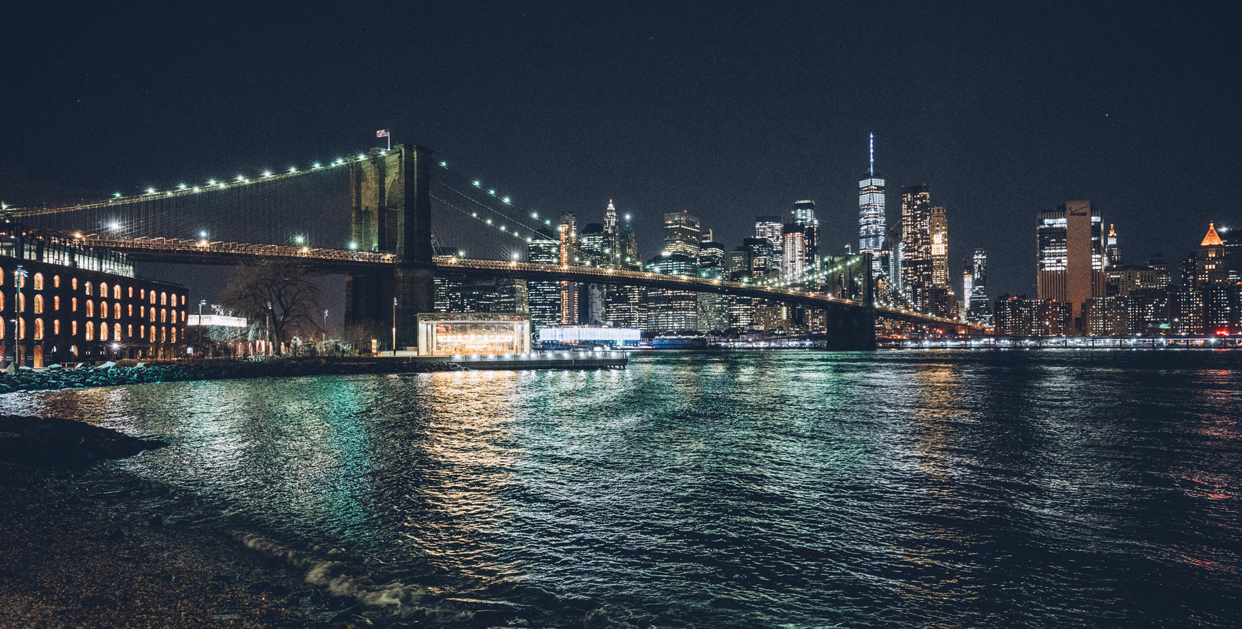 Brooklyn Bridge de nuit depuis Dumbo