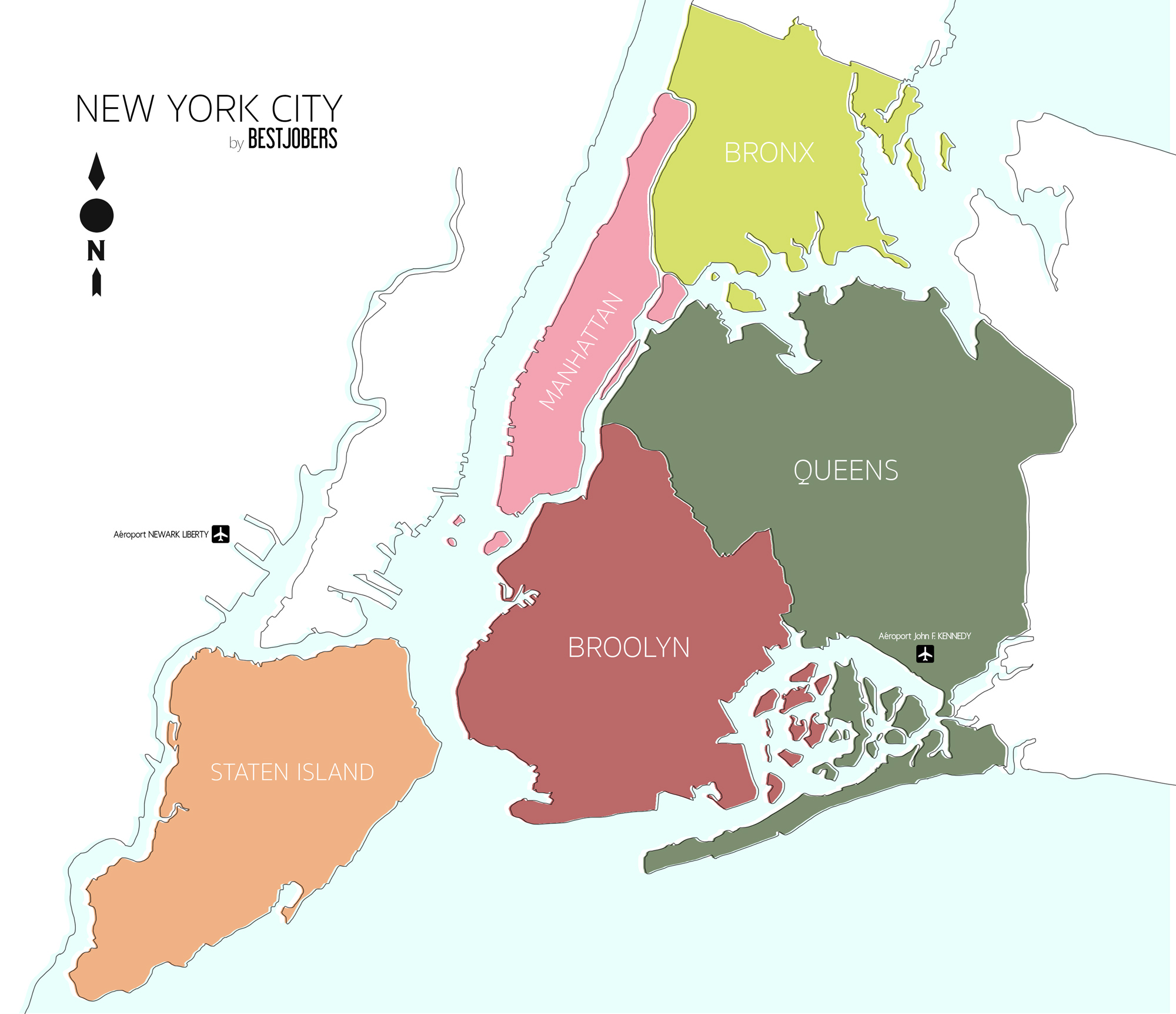 Les QUARTIERS de NEW YORK, Carte by Bestjobers