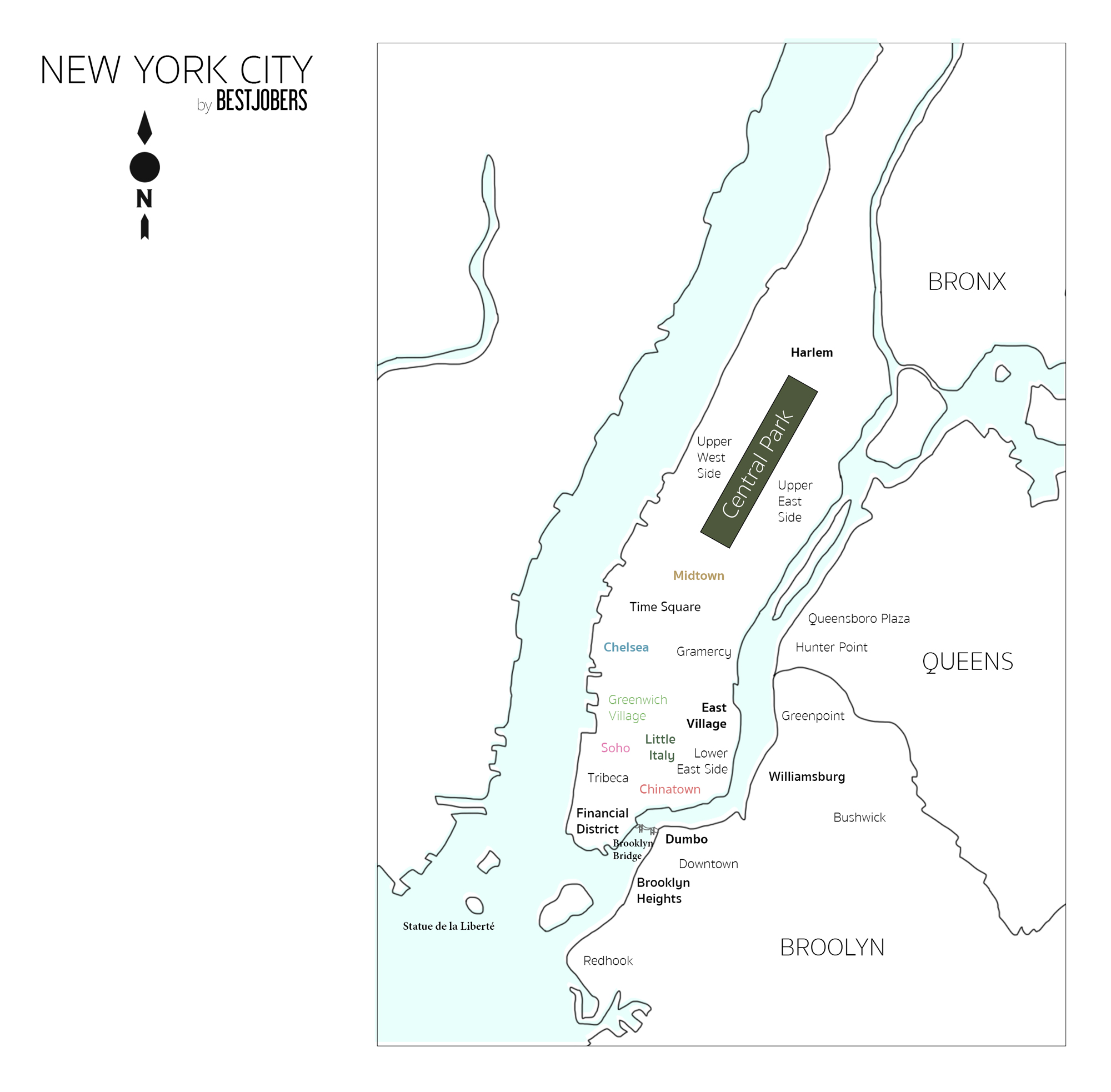 Carte, Les quartiers de NEW YORK by Bestjobers