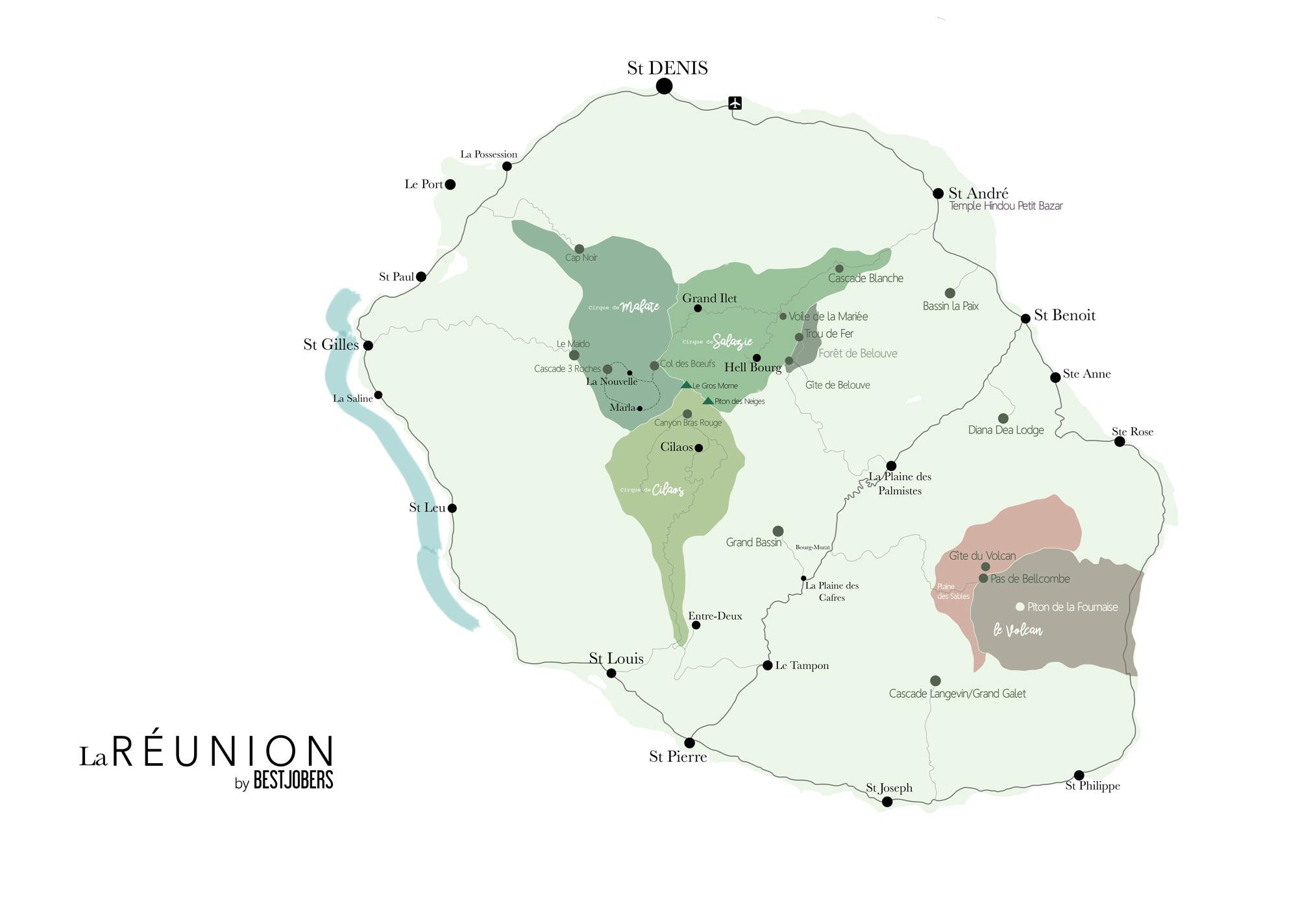 Carte de le Réunion - Incontournables - Road Trip 10 jours - Bestjobers