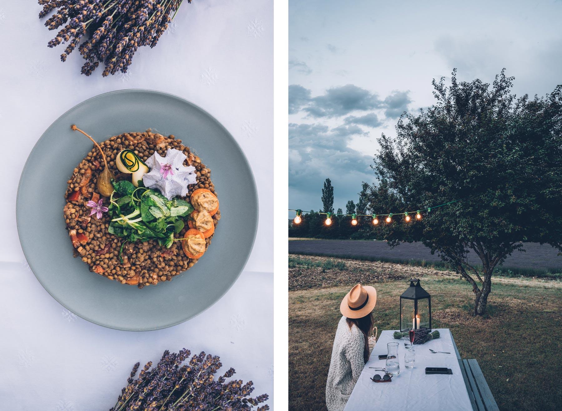Diner romantique au milieu de la lavande, Sault