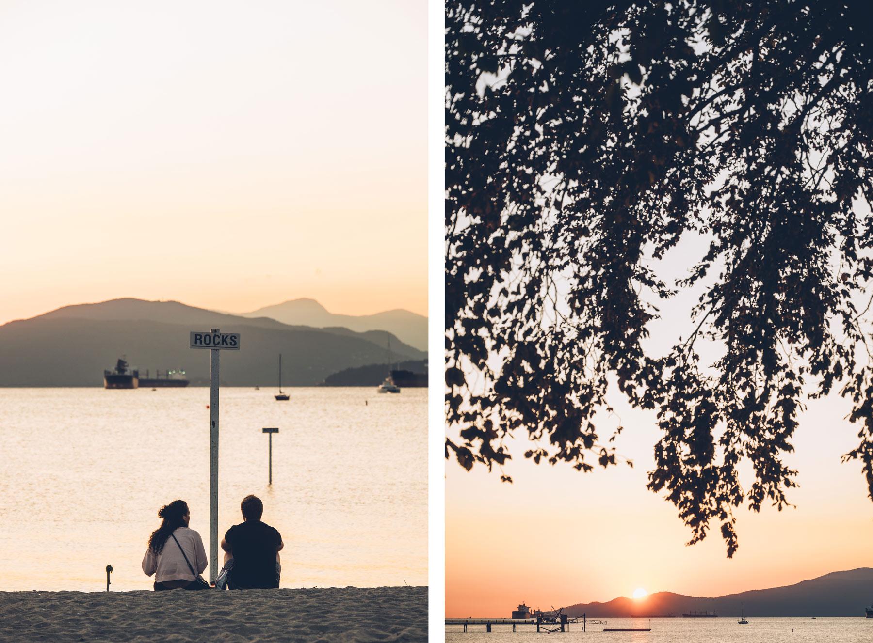 Vancouver, Plage de Kitsilano pour le coucher de soleil