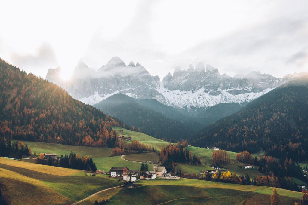 Point de vue sur Santa Magdalena, Dolomites