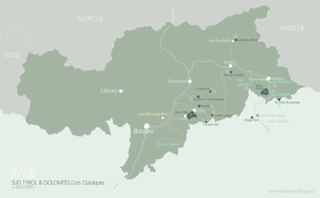 Carte Dolomites, Bestjobers