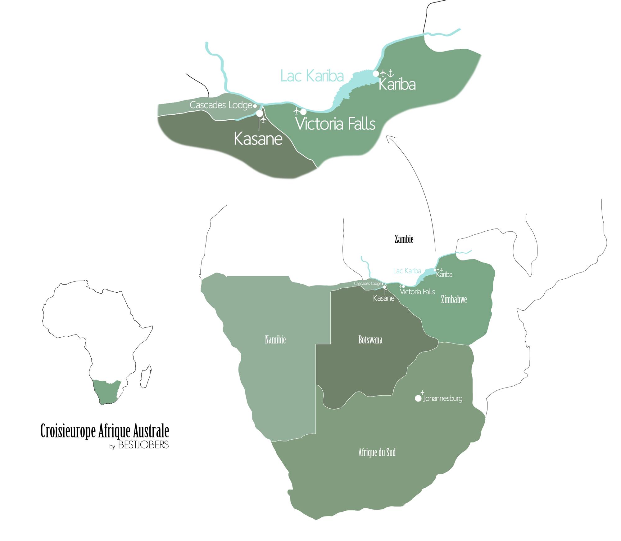 Croisieurope Afrique Australe Carte du Voyage