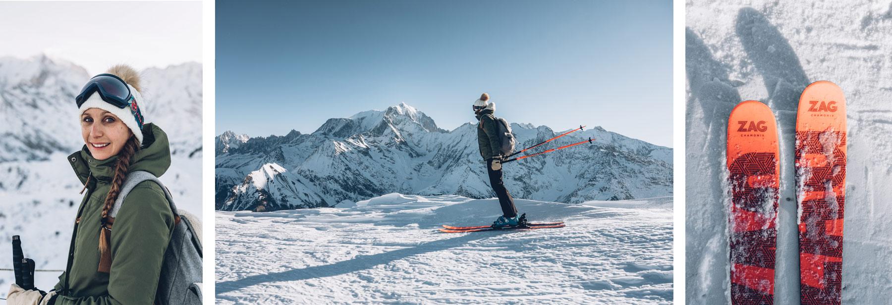 Skier face au Mont Blanc, St Gervais