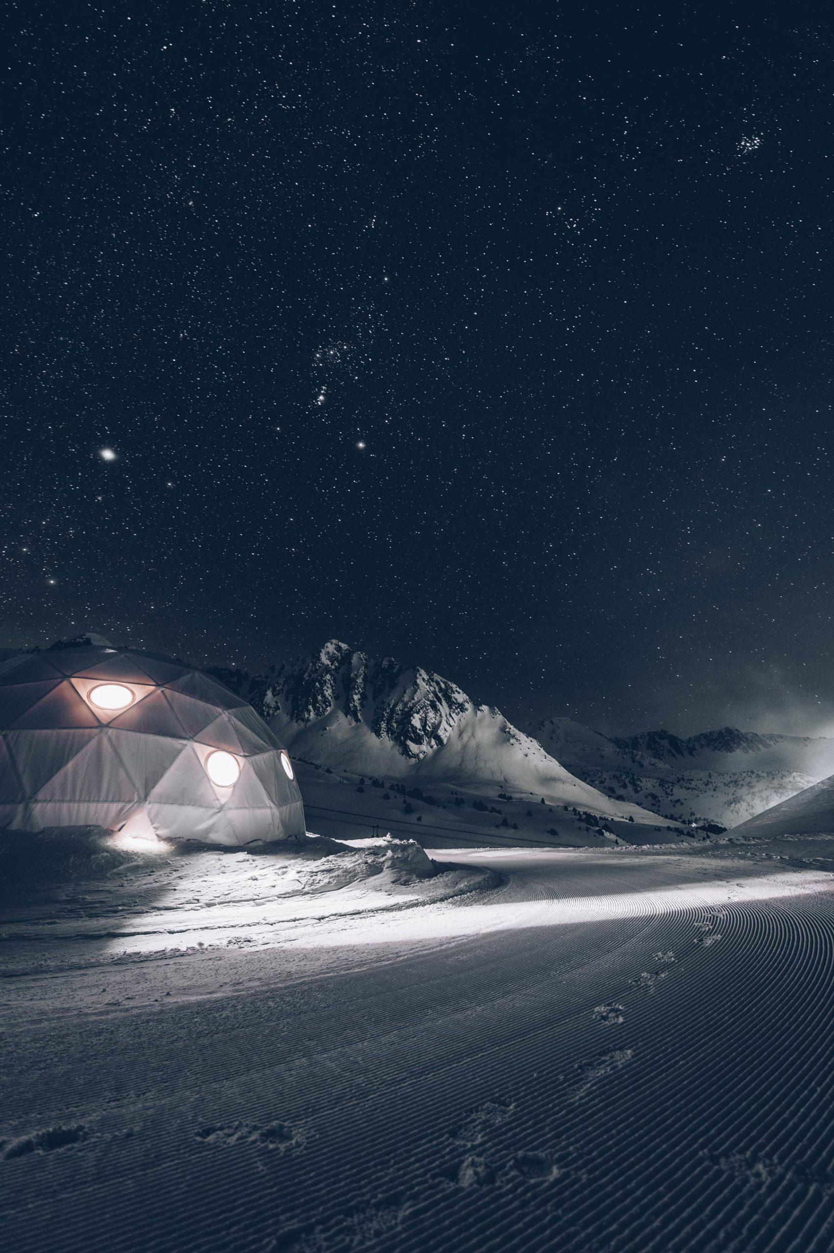 Nuit en dome sur les pistes, Andorre