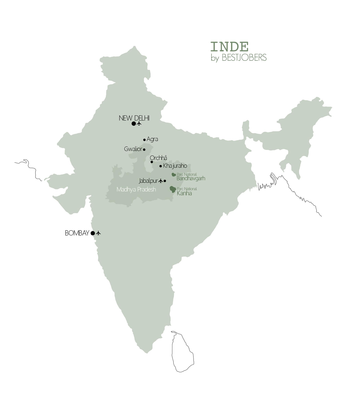 Carte Madhya Pradesh, Inde by Bestjobers