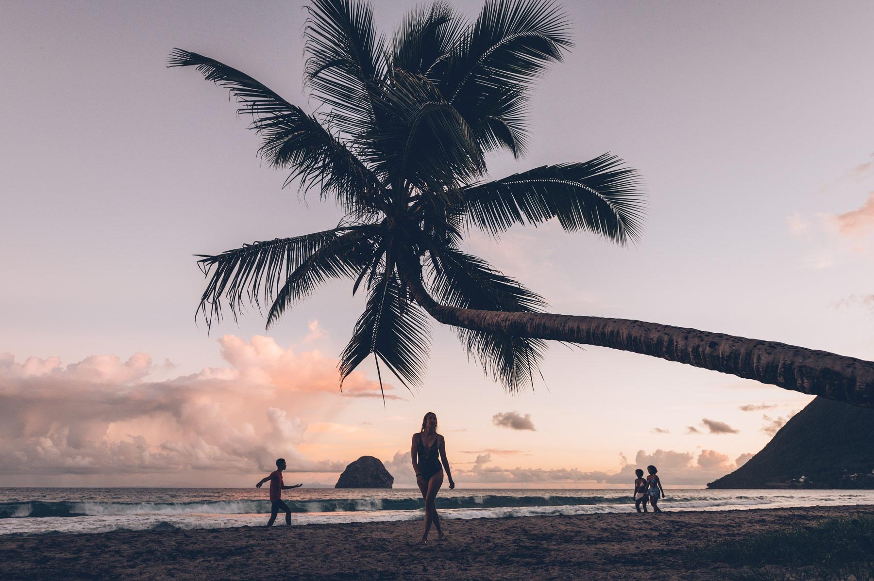 Coucher de soleil, plage du Diamant, Martinique