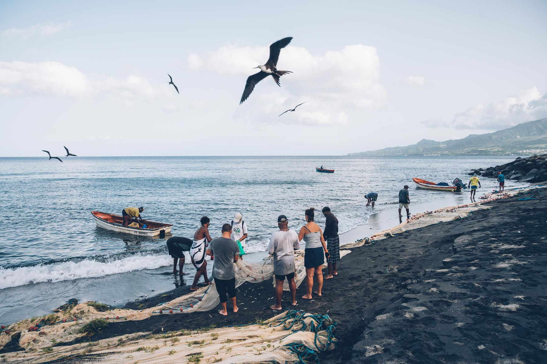 Tirer la Senne au Carbet, Martinique