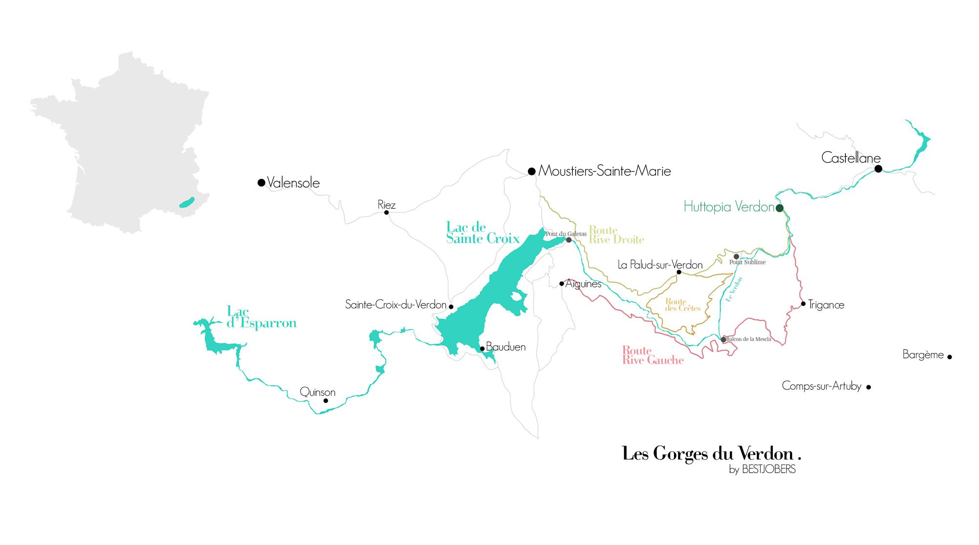 Carte Gorges du Verdon, Bestjobers