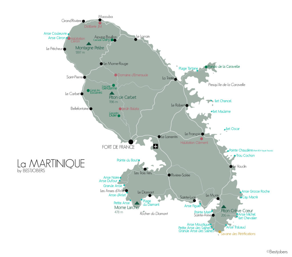 Carte Que faire en Martinique, Bestjobers Blog