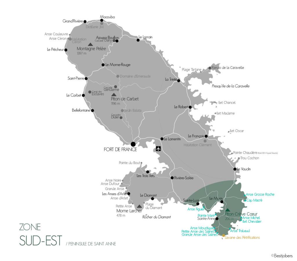 Carte Sud Est Martinique