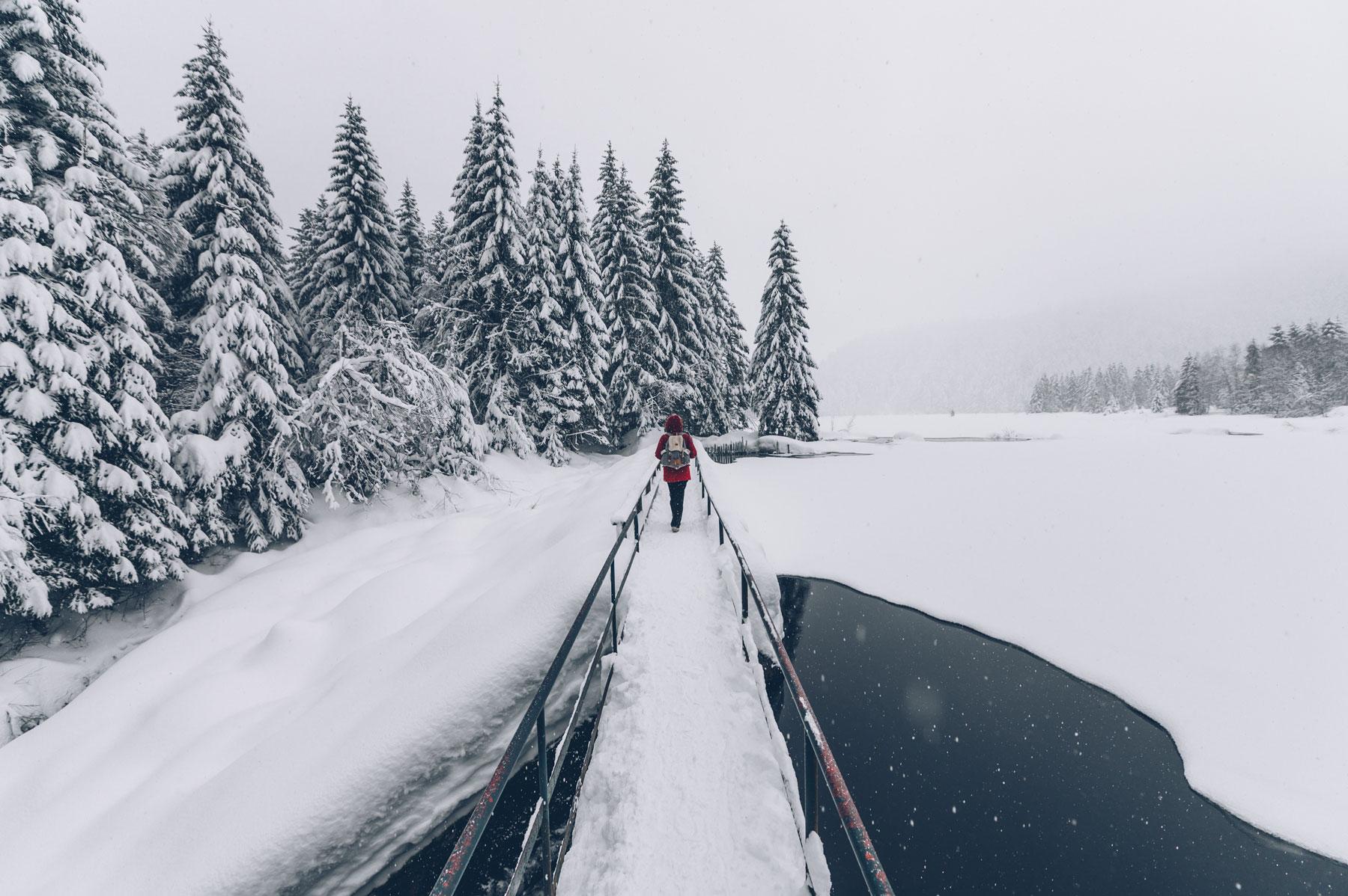Lac de Lispach en hiver, Vosges