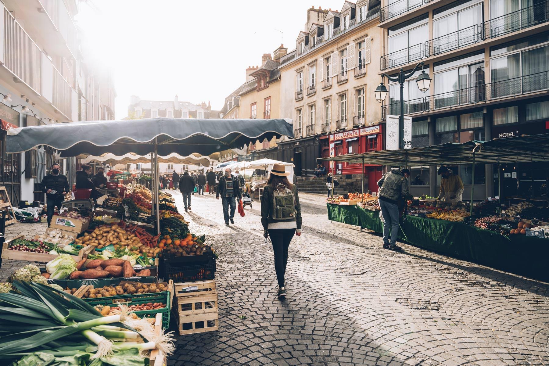 Marché de Rennes en Bretagne