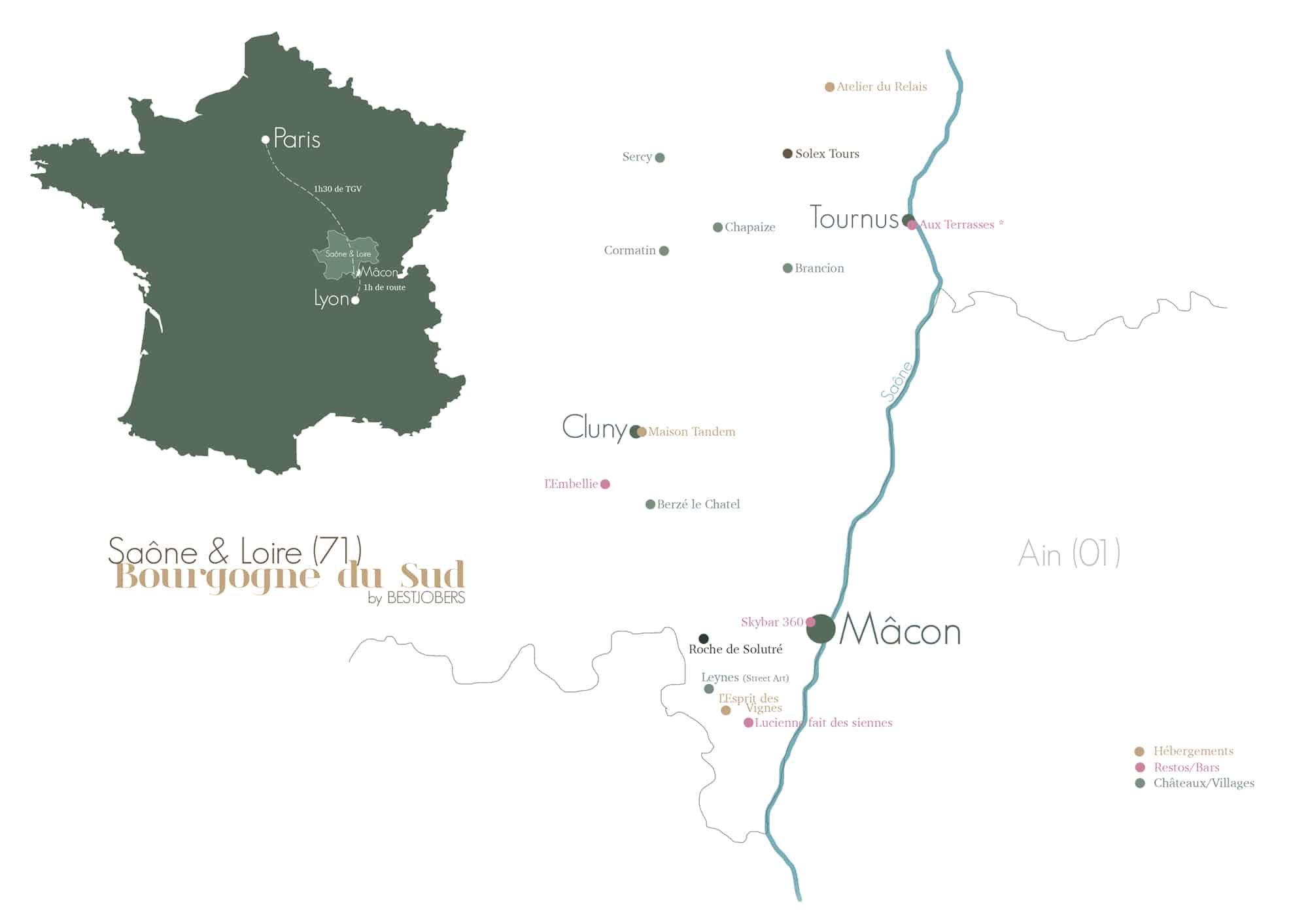 carte Bourgogne sud Saone et Loire Bestjobers